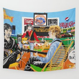 preparation before invasion at shea stadium Wall Tapestry