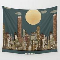 miami Wall Tapestries featuring miami city  by bri.buckley