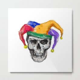Jester Skull Laughing Tattoo Metal Print