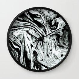 marble black and white minimal suminagashi japanese spilled ink abstract art Wall Clock