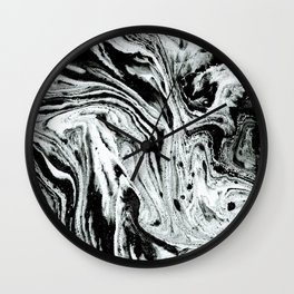 marble black and white minimal suminagashi japanese spilled ink abstract art Wall Clock