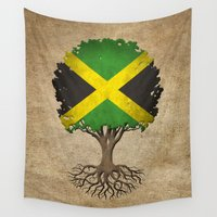 jamaica Wall Tapestries featuring Vintage Tree of Life with Flag of Jamaica by Jeff Bartels