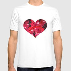BIG HEART MEDIUM White Mens Fitted Tee