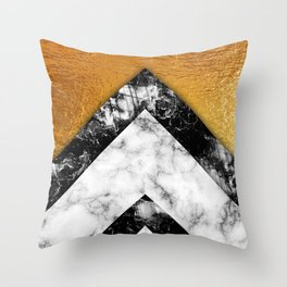Golden foil and marble Throw Pillow