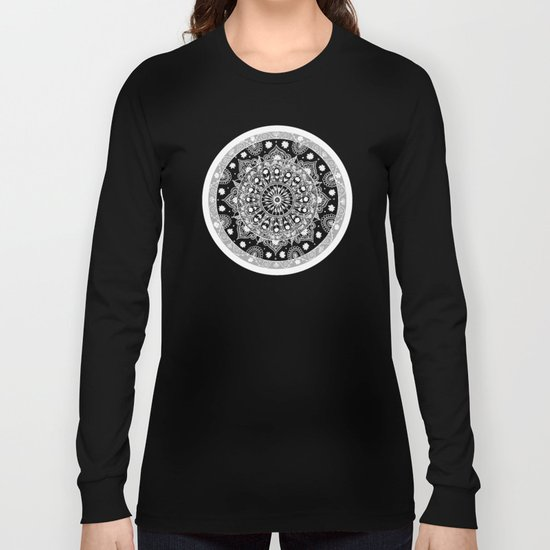 Black and White Mandala  Long Sleeve T-shirt