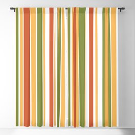Retro Stripes - Mid Century Modern 50s 60s 70s Pattern in Green, Orange, Yellow, and White Blackout Curtain