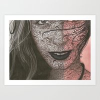no face Art Prints featuring Face  by Kate Allison