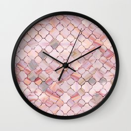 Moroccan Pattern in Marble and quartz crystal Texture Wall Clock