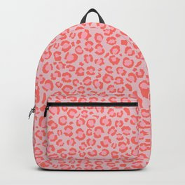 Coral Leopard Print - Living Coral design | Girly Pastel Cheetah Backpack