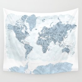 Steel watercolor detailed world map Raul Wall Tapestry