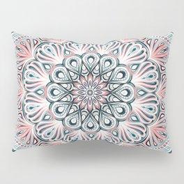 Expansion - boho mandala in soft salmon pink & blue Pillow Sham