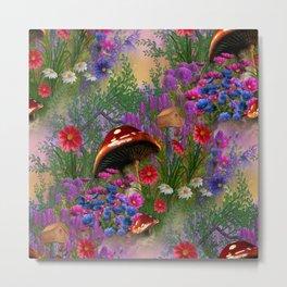 Mushroom Fantasy Garden Metal Print