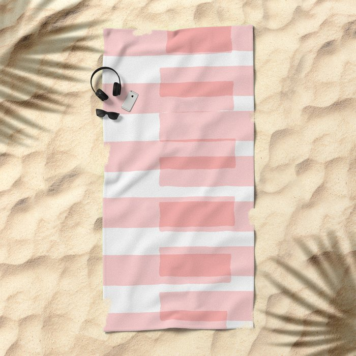 Big Stripes in Pink Beach Towel