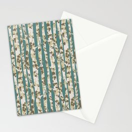 Inky Silver Birches - Ice Blue Stationery Cards