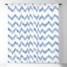 Chevron Light Blue And White Blackout Curtain