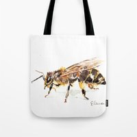 bee Tote Bags featuring Bee by Elena Sandovici