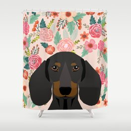 Dachshund florals cute pet gifts black and tan dachshund gifts for dog lover with weener dog Shower Curtain