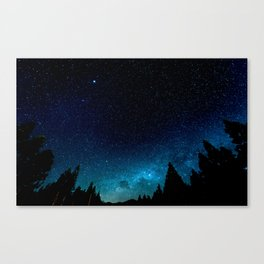 Black Trees Turquoise Milky Way Stars Canvas Print