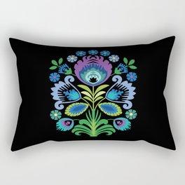 Polish Folk Flowers Purple on Black Rectangular Pillow