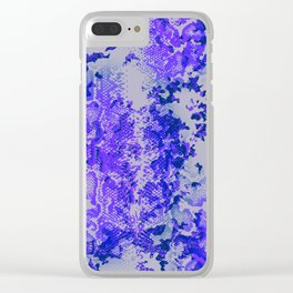camouflage with snake texture in blues Clear iPhone Case