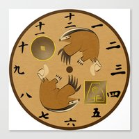 airbender Canvas Prints featuring Avatar The Last Airbender Earth Clock Face by Art of Sara