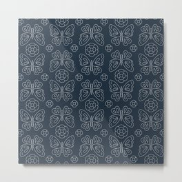 Japanese Sashiko Butterflies & Flowers Metal Print