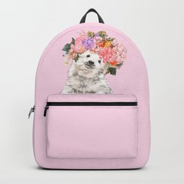 Baby Polar Bear with Flowers Crown Backpack