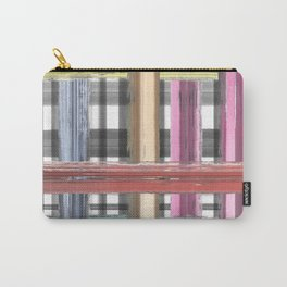 Modern pink teal black white watercolor plaid Carry-All Pouch