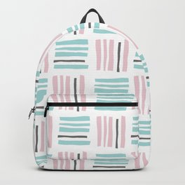 Stripes×Checkered Pattern_Mint Green&Pink&Gray Backpack