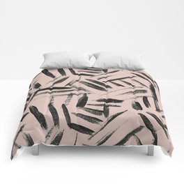 pale pink with black brushstrokes abstract art Comforters