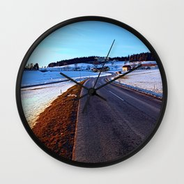 Country road through winter wonderland III   landscape photography Wall Clock