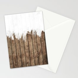 White Abstract Paint on Brown Rustic Striped Wood Stationery Cards