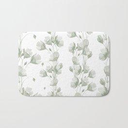 Vintage green white elegant floral illustration Bath Mat