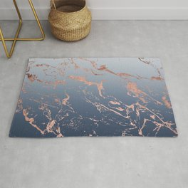 Modern grey navy blue ombre rose gold marble pattern Rug