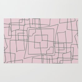 Decorative pink and grey abstract squares Rug