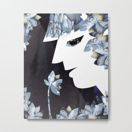 Portrait of a Woman Smelling Flowers Metal Print