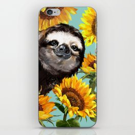 Sloth with Sunflowers iPhone Skin
