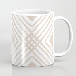 Criss Cross Diamond Pattern in Tan Coffee Mug