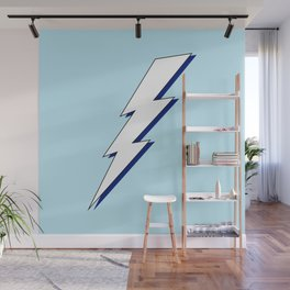 Just Me and My Shadow Lightning Bolt - Light-Blue White Blue Wall Mural