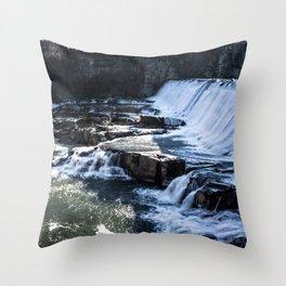 Upstate New York Waterfall Throw Pillow