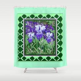 JADE GREEN PURPLE IRIS GARDEN PATTERN DESIGN Shower Curtain