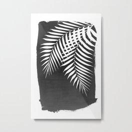 Black Paint Stroke of Palm Leaves Metal Print