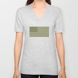 Camo Stars and Stripes – USA Flag in Military Camouflage Colors [FalseFlag 1] Unisex V-Neck