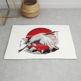 Japanese Crane Tsuru Rug