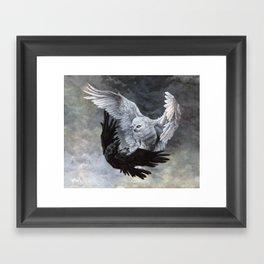 Yin Yang Owl and Raven Framed Art Print