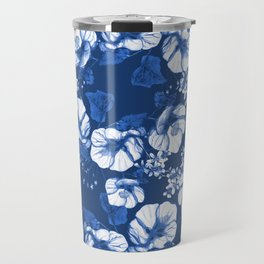 Midnight Blooms - Blue Porcelain  Travel Mug