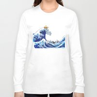 hobbes Long Sleeve T-shirts featuring Surfs up Calvin! by Ancora Imparo
