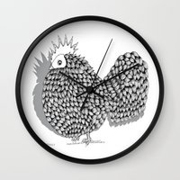 funky Wall Clocks featuring Zentangle  Illustration - Funky Chicken by Vermont Greetings