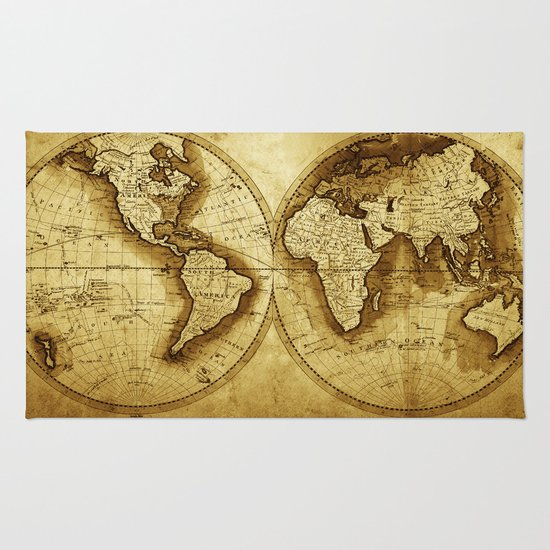 Antique Map of the World Rug - Antique Map Of The World Rug By Map Shop Society6