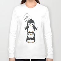 penguins Long Sleeve T-shirts featuring Penguins by Freeminds